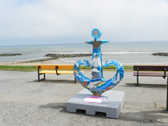 """Heritage"", Friends of Anchor, Aberdeen Beach, Aberdeen, 1st July 2017 (allanmaciver) Tags: friends anchor moira milne design style class sea blue sand aberdeen beach 20 years 1997 2017 cancer haematologu care north east coast footdee fittie inspired allanmaciver"