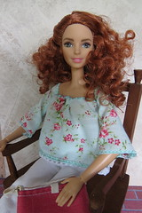 Boho Floral Top & Pink Purse (Foxy Belle) Tags: barbie doll mattel hand made clothing craft sew diy fashions tall redhead curly ribbon top move