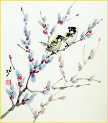 Willow and tit (Japanese Flower and Bird Art) Tags: flower willow salix salicaceae bird tit paridae isao akita nihonga shikishi japan japanese art readercollection