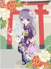 296386_201701010157 (Nicotto Yume) Tags: 紫 和 ゴージャス 花 ロングヘア カチューシャ 正月