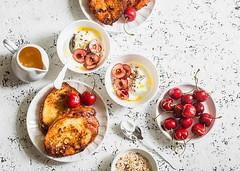 breakfast.... (sonja-ksu) Tags: food breakfast frenchtoast yogurt cherries foodphotography