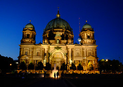Berlin Cathedral Church in Germany (` Toshio ') Tags: toshio berlin germany cathedral berlinerdom church fountain couple silhouette people bluehour history architecture building fujixe2 xe2 tvtower europeanunion european