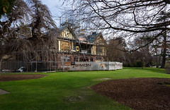 Under Earthquake Repairs (Jocey K) Tags: southisland newzealand nikond750 christchurch monavale scaffolding earthquakerepairwork architecture buildings trees gardens sky