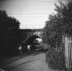 Diana - Shanghai G3 (3) (meniscuslens) Tags: ronnie biggs train robbery bridge bridego cyclist road railway diana vintage camera film shaghai mono monochrome bw