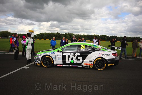 Jake Hill on the BTCC grid at Croft, June 2017
