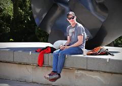 Resting by the Black Sun (sea turtle) Tags: seattle capitol hill volunteerpark park blacksun guy man dude