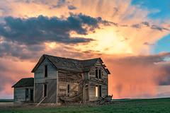 Virga (garshna) Tags: abandoned ruins destroyed virga clouds sky wheat field homestead