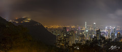 At Cut-Off Point (Tim van Zundert) Tags: hdr highdynamicrange panorama panoramic hongkongisland kowloon hongkong china victoriapeak mountaustin mountain thepeak trees skyscraper buildings city cityscape tower landscape night evening longexposure sony a7r voigtlander 21mm ultron