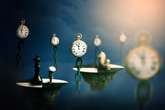 Time Strategy (cozmicberliner) Tags: chess strategy play watch chain time mystery fantasy dream old clock art mysterious age young woman spirit mind mental light passing soul spiritual sense rocks wisdom mountain manipulation fog evening dusk fairytale energy concept imagine girl beauty