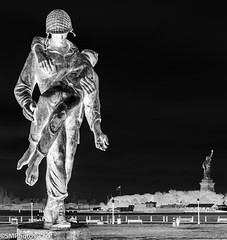 Fallen Soldier (SMPhotos2548) Tags: infared monochrome blackandwhite soldier monument statue ladyliberty libertystatepark statueofliberty nj newjersey