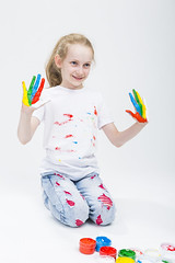 Kids Concepts. Funny Portrait of Smiling Active Caucasian Young Girl With Messy Colorful Palms. Making Handprints On T-Shirt With Fresh Paint. Against White Background. (DmitryMorgan) Tags: 1 711years active againstwhite artist artistic arty caucasian cheerful child childhood color colorful colour concept craft creative creativity daughter drawing education female fingers fun gouache hand happy kid little messy multicolor one paint painter palms people playful pleasure positive preschooler smiling tshirt young