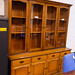Tall dark wood stained glass display unit E350