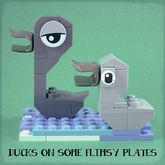 Ducks on some flimsy plates (Unijob Lindo) Tags: ducks some flimsy plates lego bricks animals memes animal duck birds baby water river duckling ducklings ugly