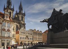 Prague (Leaning Ladder) Tags: prague praha czech czechrepublic cathedral statue oldtownsquare architecture janhus sculpture leaningladder bohemia canon 7d