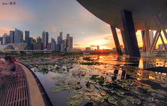 CBD Sunset #2 (2017) (Ken Goh thanks for 2 Million views) Tags: centralbusinessdistrict cbd sunset landscape cityscape water reflection blue sky sun pentax k1 sigma 1020