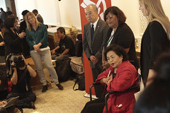 Setsuko and Abacca at press conference. Photo:  Xanthe Hall