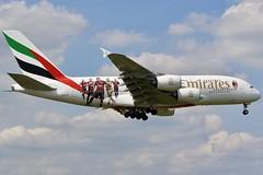 Emirates Love Of Football... (Ben Cavers) Tags: emirates airbusa380861 airbusa380 airbus a380861 a380 emiratesairbusa380 emiratesa380 a6eog superjumbo londonheathrowairport londonheathrow heathrowairport heathrow lhr egll widebodyjet widebody passengerjet jetliner commercialairliner airliner commercialaviation aviation aircraft airplane plane logojet acmilanlogojet