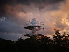Beacon Into Space? (de:mo) Tags: winding stair structure ontarioplace toronto sunset clouds beacon surreal scifi rl