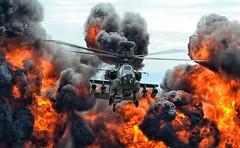 Explosive Apache at Yeovilton (Tilney Gardner) Tags: apacheah1 apache yeovilton yeoviltonairday yeoviltonairday2017 pyrotechnics helicopter somerset nikon explosion