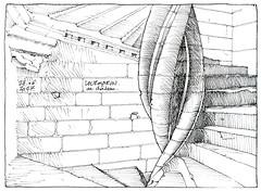 Lourmarin, escalier du château (gerard michel) Tags: france provence lourmarin château renaissance escalier sketch croquis