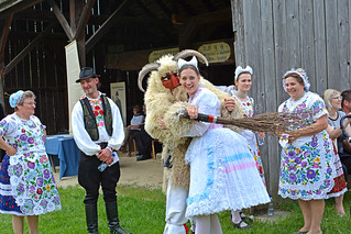 Folk dancers from Kalocsa ,and the Buso (from Mohacs ) having a fun