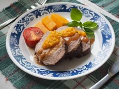 Roasted pork loin with gravy & mango lemon sauce (HI-PEARL) Tags: pork loin