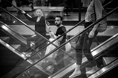 Time for something new (Rafau_) Tags: couple oldnew bw 55mm stairs thoughts mindblowing