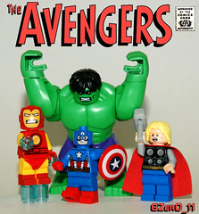 Avengers Assemble!! (GZer0_11) Tags: lego custom decal paint job avengers classic suit arc hulk bruce banner captain america steve rogers thor mighty iron man tony stark