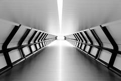 Adams Plaza Bridge in black and white (jbarry5) Tags: adamsplazabridge canarywharf london england unitedkingdom canarywharfwalkway blackandwhite abstract geometry monochrome