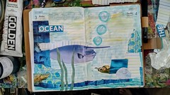 Morning Warm-up (FarStarr) Tags: farstarr fish ocean collage mandyfariello datebook blue turtle swapbot