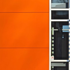Urban Abstract No 45 (llawsonellis) Tags: windows reflections orange black green silver blue sinding facade urban urbanabstract abstract line lines linear square squareformat abstractures abstractsquared minimal minimalism patterns
