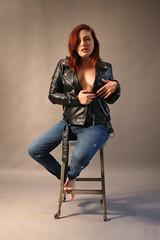 Sienna-8717-100 (artistbyday) Tags: siennaluna model redhead girl sexy curvy portrait bluejeans leatherjacket barefoot studioshoot