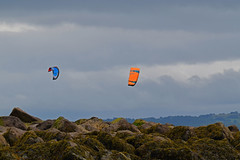 Kite Surfing 1 (Lord Edam) Tags: sea coast coastline beach river sand rocks llandudno conwy clouds waves mountains groyne kite surfing kitesurfing actionsports