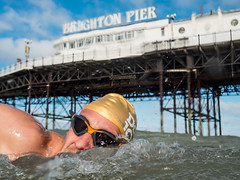 Swimming club member mark swimming past Brighton Pier (lomokev) Tags: brightonpier brightonswimmingclub mark goggles postedtoflickr sea sport swimming wildswimming file:name=170623omdem56230109 olympusomdem5 olympus omd em5 olympusomd brighton pier palacepier