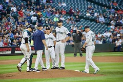 Mound meeting with Paxton (hj_west) Tags: baseball philadelphiaphillies seattlemariners safecofield mlb interleague stadium night sports