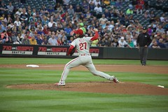 Aaron Nola on the mound (hj_west) Tags: baseball philadelphiaphillies seattlemariners safecofield mlb interleague stadium night sports