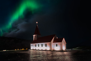 Aurora borealis in the church