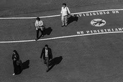no pedestrians (Marc McDermott) Tags: people walking shadow street photography blackandwhite monochrome canon four sign stones brick pattern play