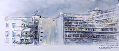 Habitation collective - Paris XVHousing (velt.mathieu) Tags: sketch croquis building architecture watercolor paris