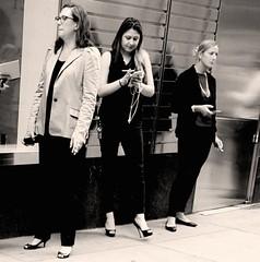 Three Smokers (Emm Ess) Tags: candid smoke women suit smoking smokebreak manhattan nyc newyork heels bw blackandwhite cigarette