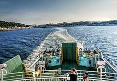 Leaving Rothesay Behind (Phelan (Shutter Clickin) Goodman) Tags: rothesay caledonian macbrayne ferry leaving water waves isle bute scotland coast clyde panasonic gx80 goatfell arran