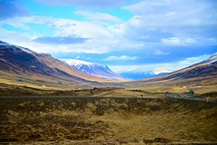 Down the Valley (Herculeus.) Tags: 2017 april clouds country day europe iceland landscape mountains ontheroadakureyritoreykjavik outdoor outdoors outside oxnadalurvalley snow spring valley