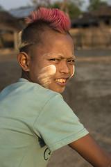 Myanmar 2017-39 (Trev Thompson) Tags: adolescent asia attributes burma burmese cosmetics culture ethnic lookingatthecamera myanmar people portrait smiling streetscene teenager thanakha ye mon boy