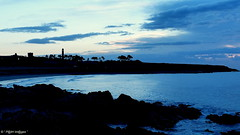 """ Black Velvet in the Blue Hours "" ("" P@tH Im@ges "") Tags: roundtower coast sea dawn ireland black silhouette path peaceful waves"