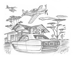 Carrisa (rod1691) Tags: bw scifi grey concept custom car retro space hotrod drawing pencil h2 hb original story fantasy funny tale automotive art illistration greyscale moonpies sketch