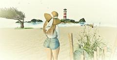 Memories Of Chesapeake Bay (Sparkle Mocha) Tags: gos floppy hat floppyhat collabor88 ison opale hairfair2017 ripped shorts lighthouse luanesworld strawhat cutoffs jeanshorts bay ch cheasapeak cheasapeakbay virginia blonde scarf whitescarf maitreya sandybeach sand secondlife sl