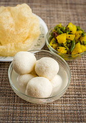 Bengali style breakfast (color and spices) Tags: indianfood indiansweets indiancottagecheese chana paneer dessert breakfast bengali food rosogolla