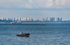 SIngapore Strait with Singapore City in the background (Merrillie) Tags: ships water city cityscape boats overseas sea earlymorning blue ship scenery highrises travel seascape singaporestrait singapore waterscape buildings sentosacove sentosa outdoors
