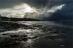 Stormy Afternoon at the Beach (elpedro1960) Tags: cloud sky light rays stormy water beach moody dark reflections sand rocks narrow neck auckland devonport new zealand