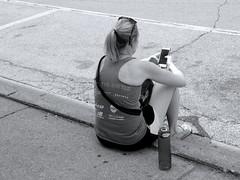 THE BATTLE-Lumix GX85 (Preskon) Tags: nature lady texting curb waterbottle wheatonil